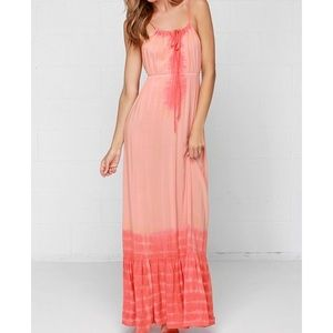 Lulu's Tie Dye Peach Maxi Dress - S